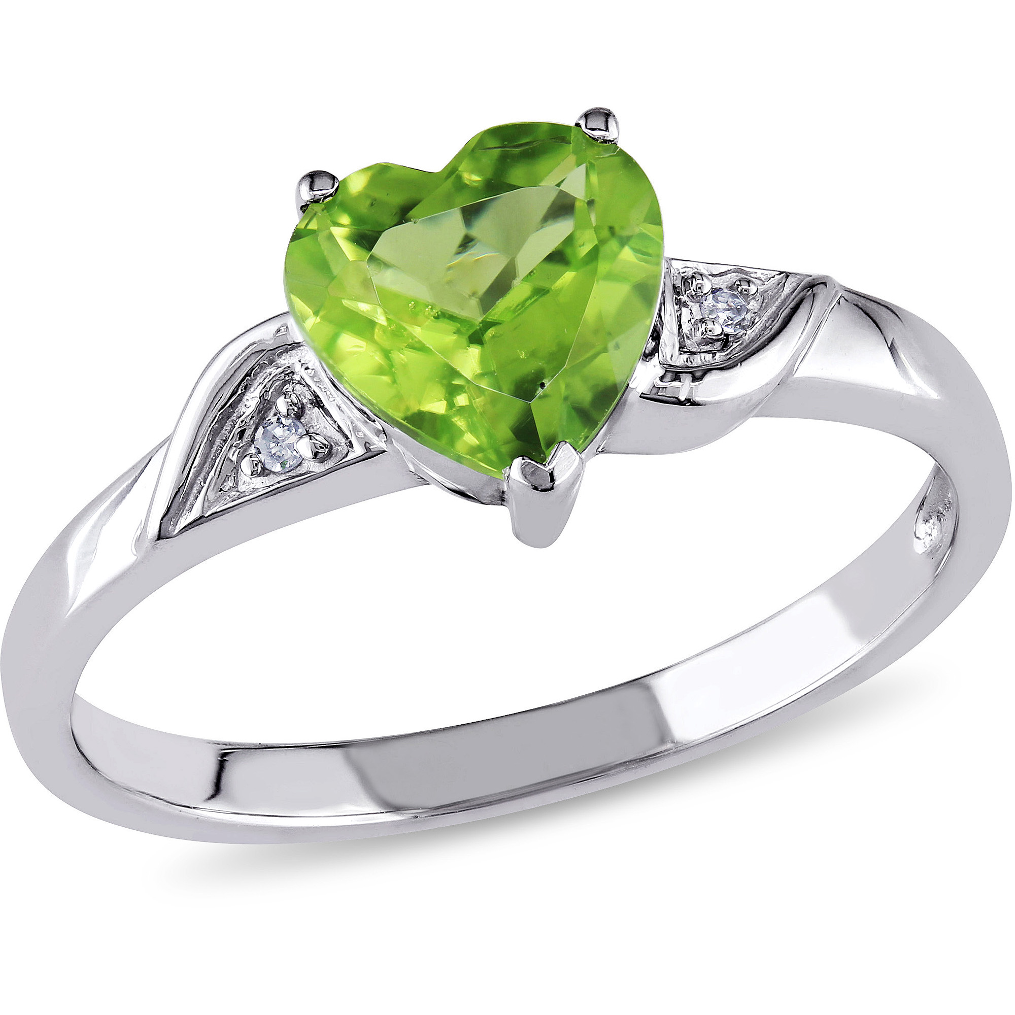 1-1/3 Carat T.G.W. Peridot and Diamond-Accent 10kt White Gold Heart Ring