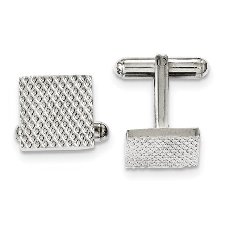 Mia Diamonds Stainless Steel Polished and Textured Cufflinks