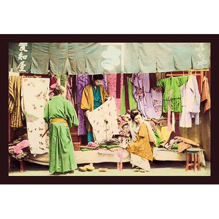 Second Hand Clothing Shop Fine art canvas print (20  x 30 ) Grocery and Fruit Shop.  This image is from a collection of hand tinted Meiji era photographs from Japan that were published and bound in a rice paper book in multiple volumes.