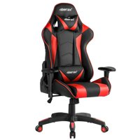 Merax 90-135 Degree Adjustable High Backrest Leather Ergonomic Racing Style Gaming Chair Including Headrest and Lumbar Support, Red