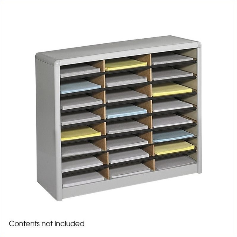 Scranton & Co 24 Compartment Flat Files Metal Organizer in Gray