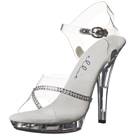 5 Inch Women's Sexy Evening Shoes Clear Sandal Mid Platform With Rhinestones