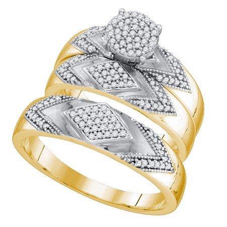 10K Yellow Gold 0 40Ctw Shiny Micro Pave Diamond Center Round Trio Set Ring