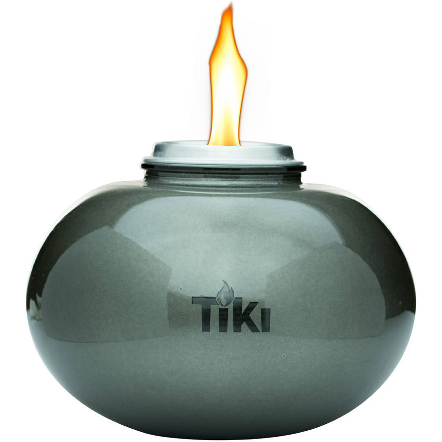 TIKI Brand 6 Inch Clean Burn Glass Pearl Of The Sea Table Torch Firepiece  Pewter