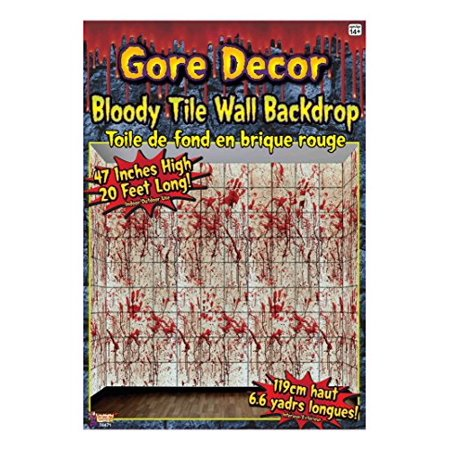 Bloody Gore (Forum Novelties Gore Decor Bloody Tile Wall Backdrop,)