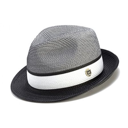 Montique Men's Braided Two Tone Pinch Fedora Hat H22
