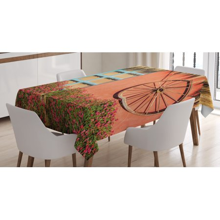 Barn Wood Wagon Wheel Tablecloth, Country House in Ecuador Red Wall Window Summer Flowers Straw Roof, Rectangular Table Cover for Dining Room Kitchen, 52 X 70 Inches, Multicolor, by - Rectangular Window Wall