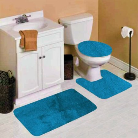 6 3 Piece Teal Solid Non Slip Bathroom Rug Set 1 Contour Mat