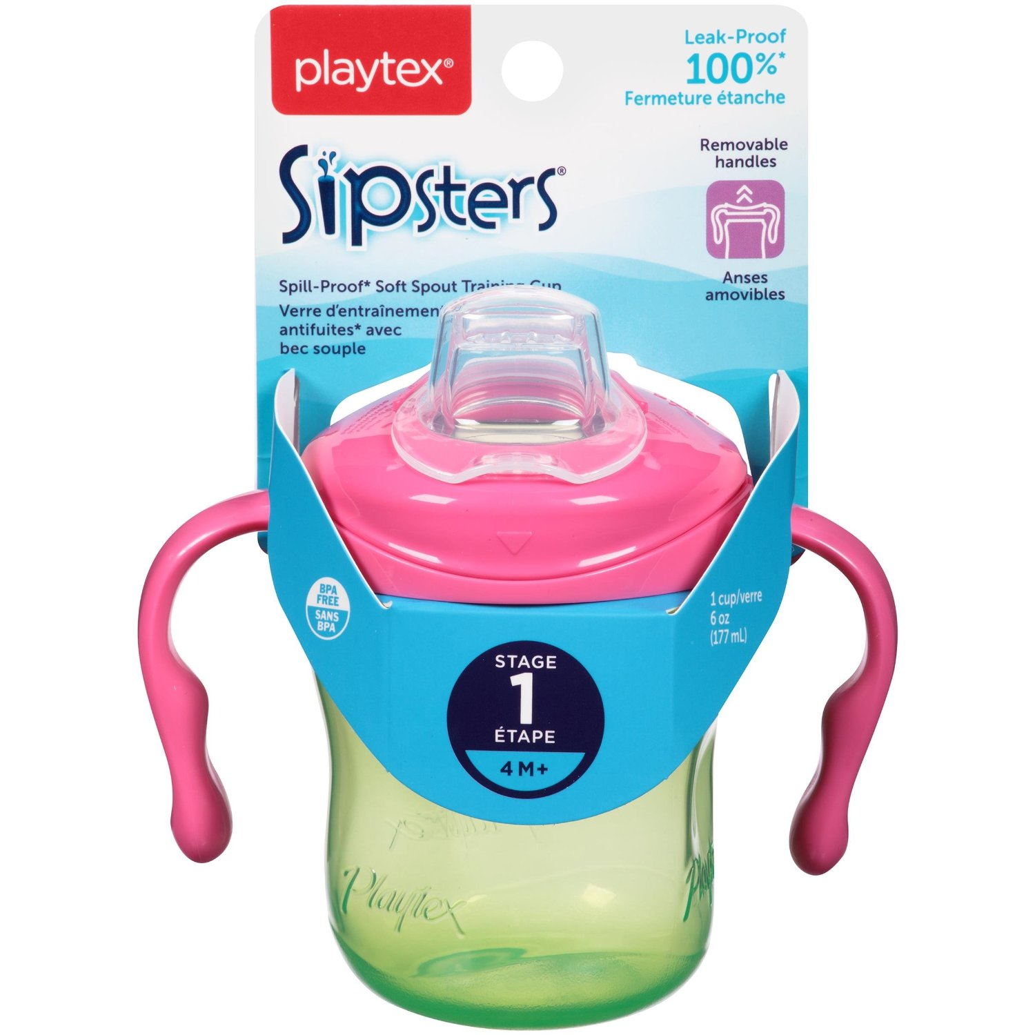 Playtex Sipsters Stage 1 Soft Spout Cup - 6 Ounce - Pink/Green