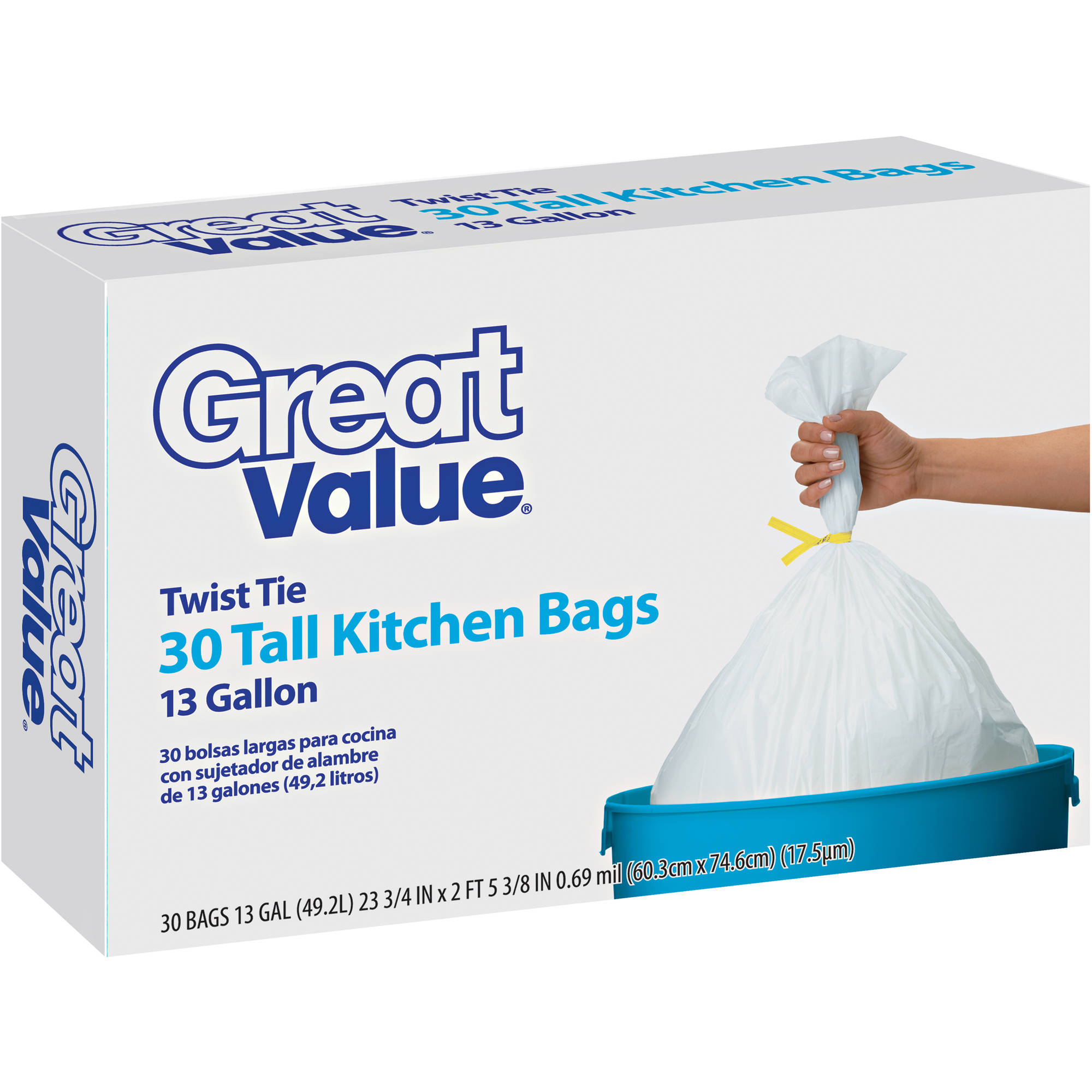Great Value Tall 13 Gallon Kitchen Bags, 30ct