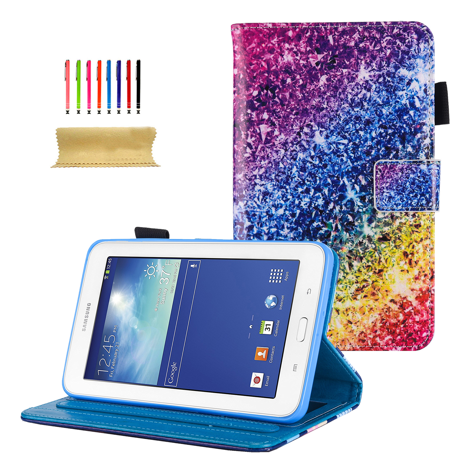 Galaxy Tab E Lite 7.0/ Galaxy Tab 3 Lite 7.0 (SM-T110/ T111/ T113/ T116) Case, Goodest PU Leather Folio Case Cover for Samsung 7.0 Inch Tablet with Auto Wake/Sleep & Card Slots, Silver Sand