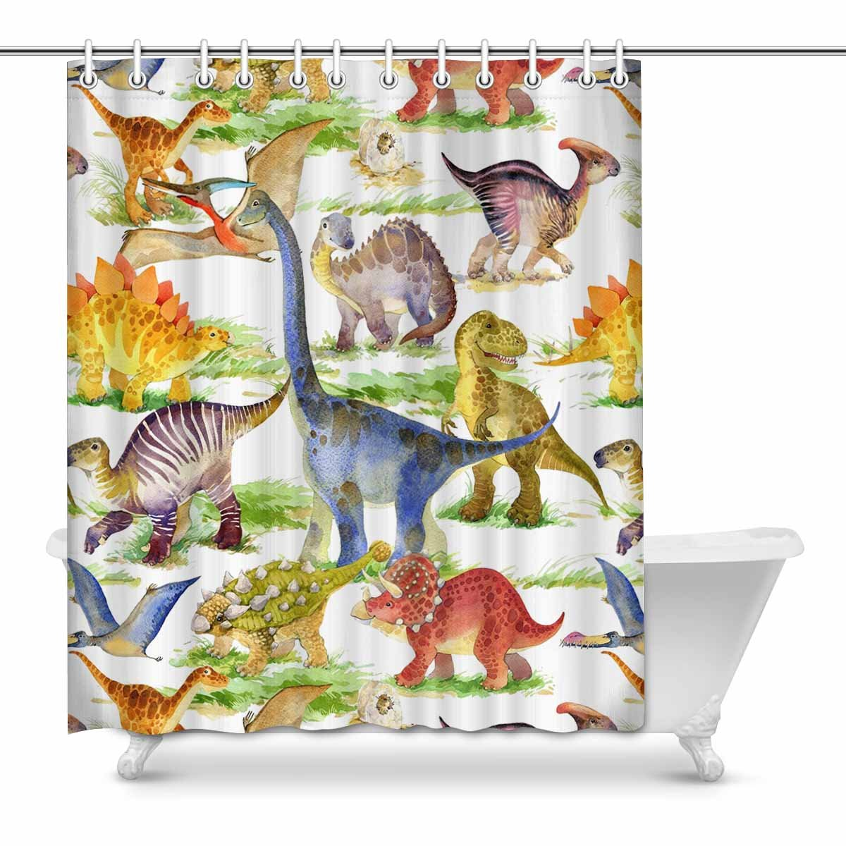 Mkhert Cute Dinosaurs Watercolor Animal Waterproof Shower Curtain Decor Fabric Bathroom Set 60x72 Inch Walmart Com