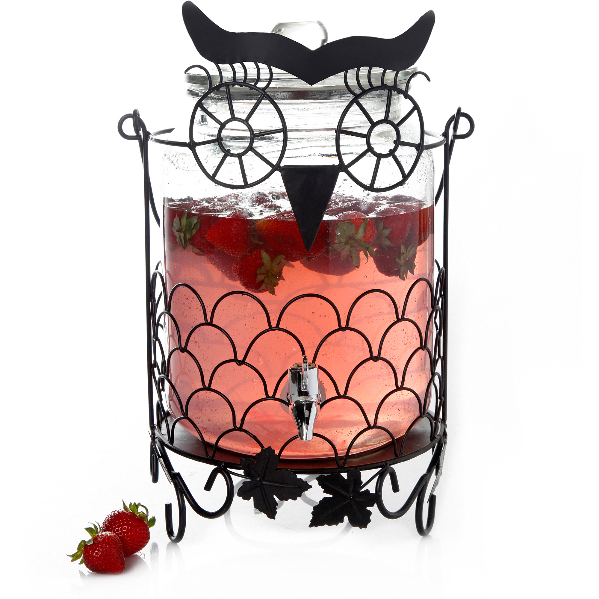 Gibson Home Payson 1.58 gal Glass Drink Dispenser with Black Metal Owl Rack, Glass