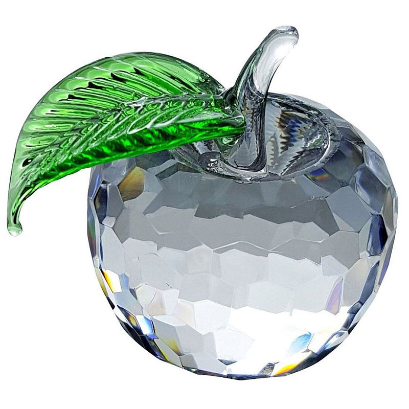 Crystal Florida  Crystal Apple with Green Leaf Sculpture
