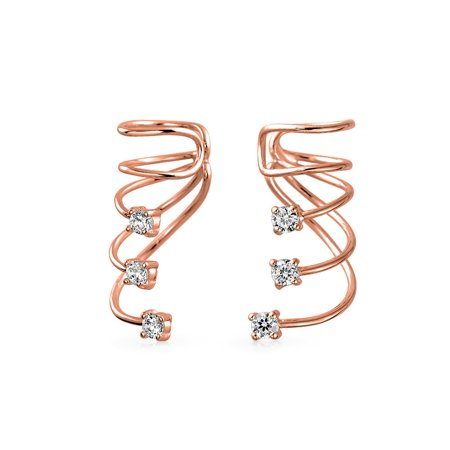 Sterling Silver 14k Gold Cuff (Minimalist Triple Spiral CZ Wire Cartilage Ear Cuff Wrap Cubic Zirconia Helix Earring 14K Gold Plated Sterling)