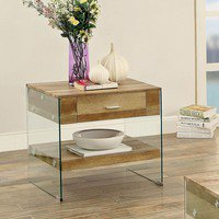 Rhiannon Acrylic Panel End Table Contemporary Style - Natural