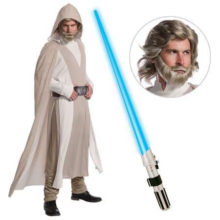 Star Wars EpVIII: The Last Jedi - DLX Men's Luke Skywalker Costume with Wig and Lightsaber - Size STANDARD