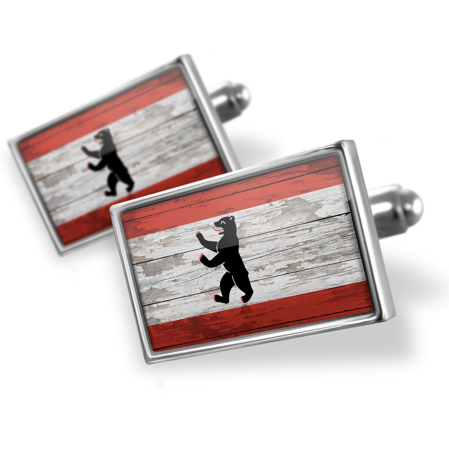 Cufflinks Flag on Wood Berlin region: Germany - NEONBLOND