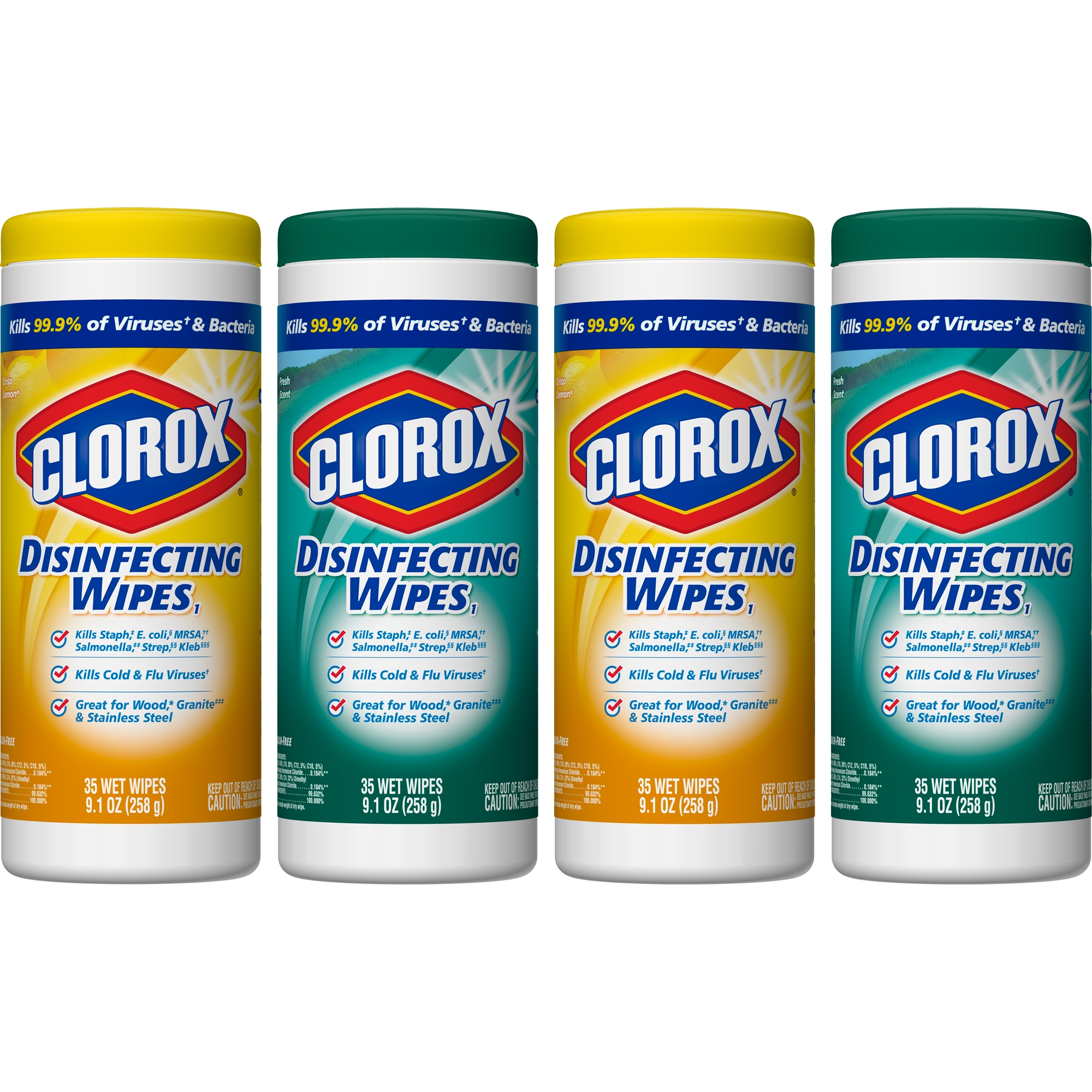 Clorox Disinfecting Wipes (140 Count Value Pack), Bleach Free Cleaning Wipes - 4 Pack - 35 Count Each