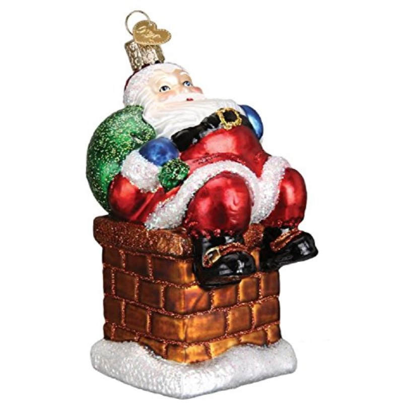 Old World Christmas Blown Glass Chimney Stop Santa Ornament