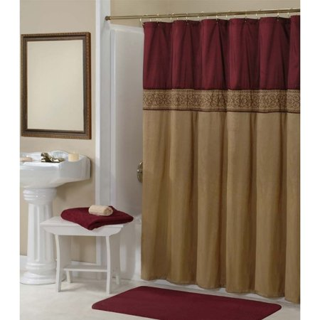 Home Fashions International Addison Gold And Maroon Embroidered Shower Curtain