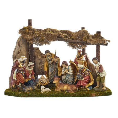 Kurt Adler 11 Figurine Nativity Set with Wooden Stable for $<!---->