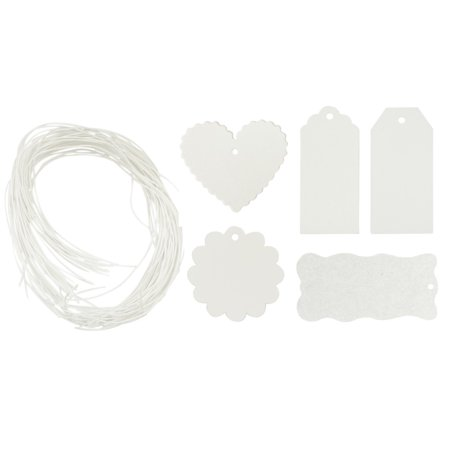 Wrapables® 100 Gift Tags/Kraft Hang Tags with Free Cut String for Gifts Crafts and Price Tags, White ()