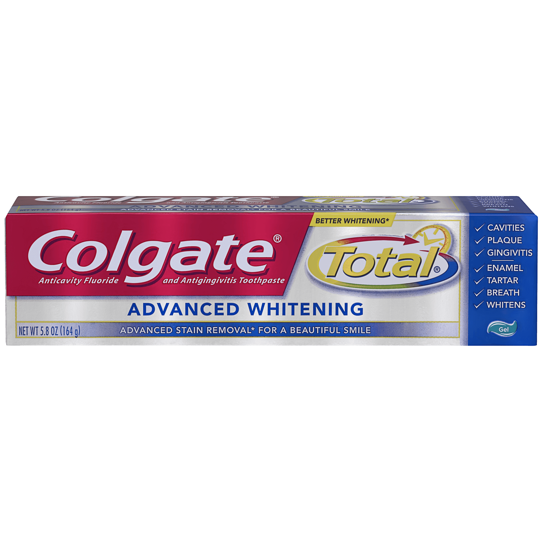 Colgate Total Advanced Whitening Toothpaste, Gel - 5.8 oz
