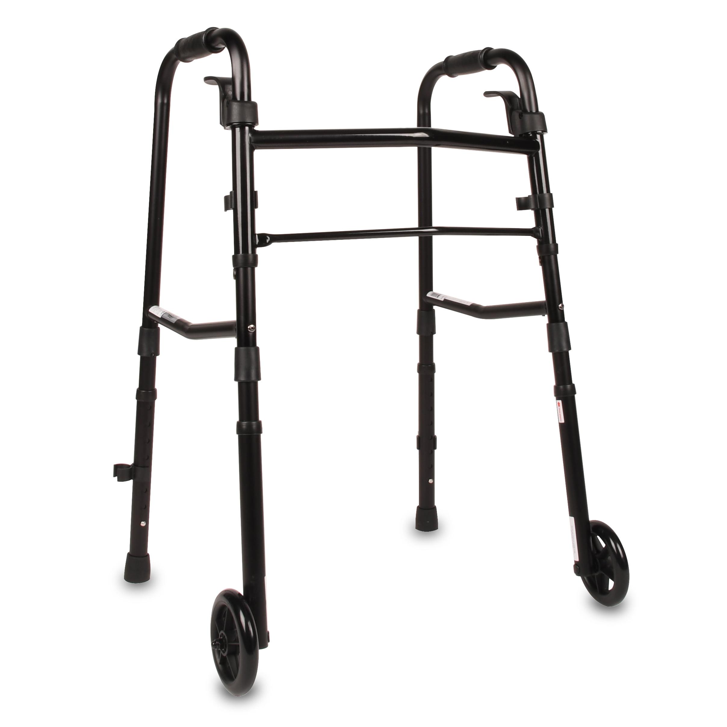 Equate Folding Walker with Wheels, Black