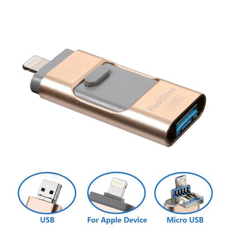 3 In 1 USB Flash Drive 64G, USB Memory Stick 64GB Thumb Drive Flash Drive for iPhone/iPad/PC/Android External Memory Storage Stick Password/Touch ID Protected Flash Drive for iOS/iPhone (Best External Storage For Iphone)