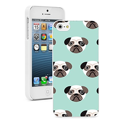 Apple iPhone 6 6s Hard Back Case Cover Pug Puppy Face Pattern (White)