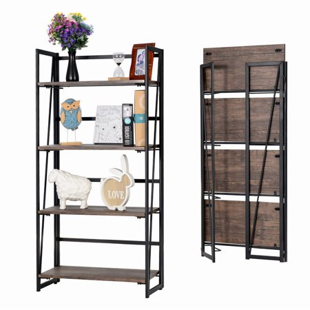 - Home & Office Folding Bookshelf 4-Tiers Bookcase Shelf Storage Rack No Assembly