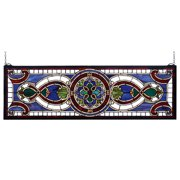"""Meyda 35""""w X 11""""h Evelyn In Lapis Stained Glass Window"""