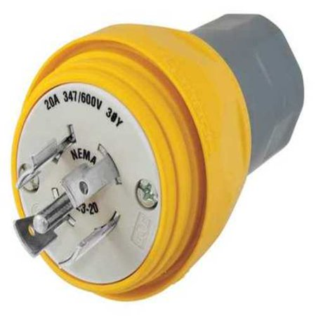 - 30A Watertight Locking Plug 3P 4W 600VAC L17-30P YL