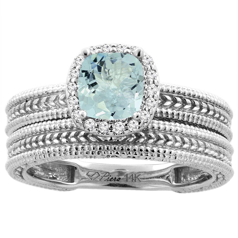 14K White Gold Diamond Natural Aquamarine 2-pc Engagement Ring Set Cushion 7x7 mm, size 6.5 by Gabriella Gold