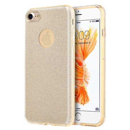 Insten Starry Dazzle Hybrid Dual Layer PC/TPU Rubber Shockproof Case Cover for Apple iPhone 8 / iPhone 7 - Gold