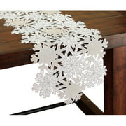 Xia Home Fashions Shimmer Snowflake Embroidered Cutwork Table Runner