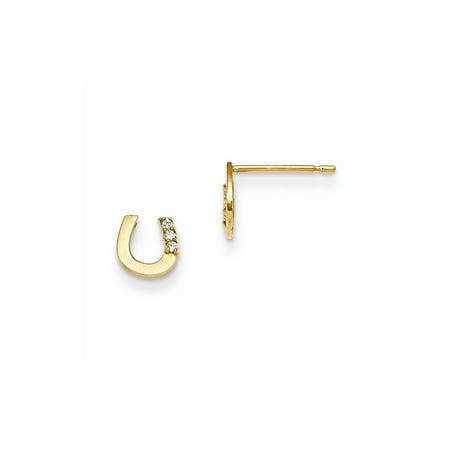 14k Solid Yellow Gold Madi K Cubic Zirconia Children's Horseshoe Post Earrings