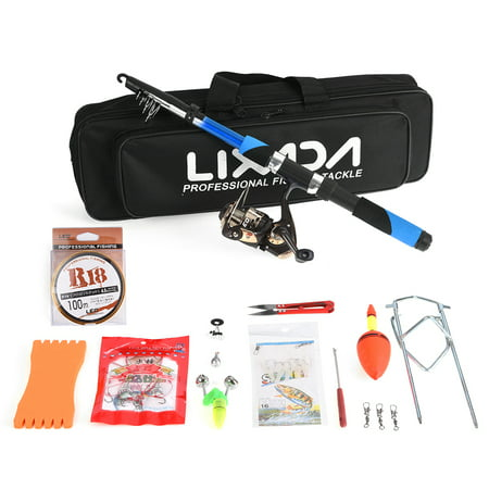 Spinning Sea Fishing - Lixada Fishing Tackle Set with 2.1m Telescopic Fiberglass Fishing Sea Rod Spinning Fishing Reel Fishing Baits Hooks Fishing Bag Kit Seawater Freshwater Professional Travel Fishing Pole Rod Set