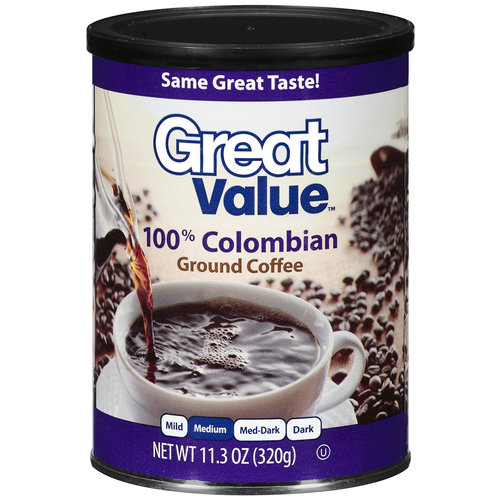 Great Value 100% Colombian Medium Ground Coffee, 11.3 oz