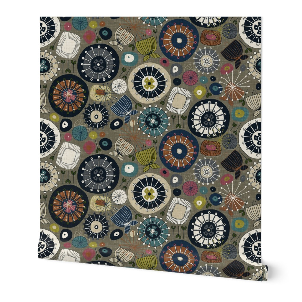 Wallpaper Roll Midcentury Mid Century Modern Floral Flowers 24in x 27ft