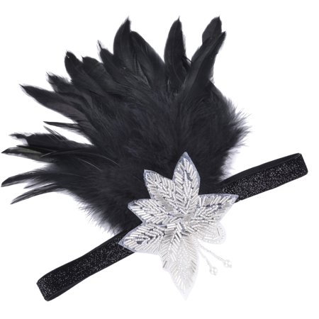 Womens Headband, Coxeer 1920s Headpiece Flapper Headband with Beaded Flower and Black Feathers for Women Ladies Girls,Black for $<!---->