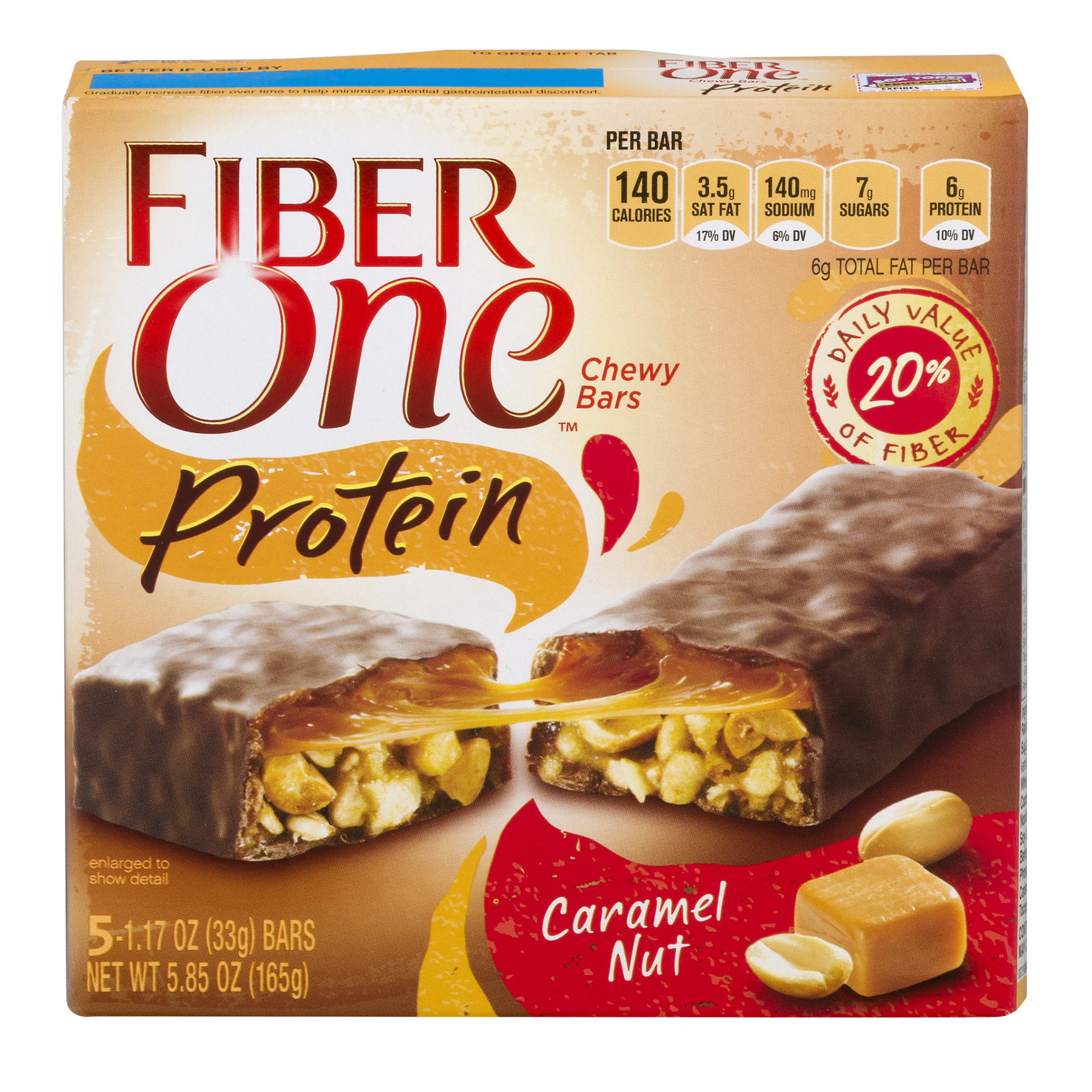 Fiber One Protein Chewy Bar, Caramel Nut, 6g Protein, 5 Ct