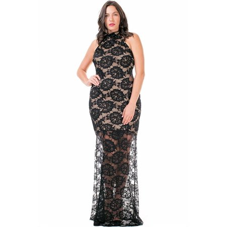 Nyteez Womens Plus Size Long Black Lace Mermaid Gown Sleeveless