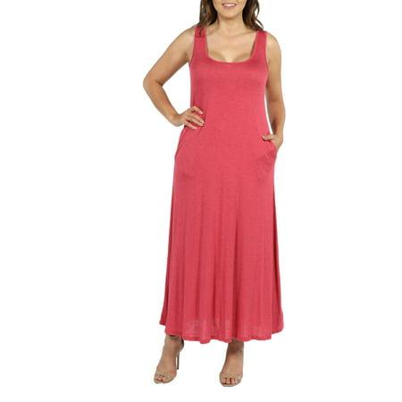 24Seven Comfort Apparel Marion Sleeveless Plus Size Maxi Dress ...