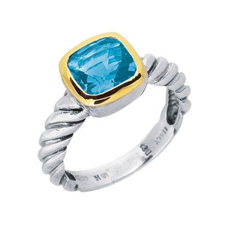 18K Gold And Twisted Cable Sterling Silver Blue Topaz Ring, Size 7 - image 1 de 1