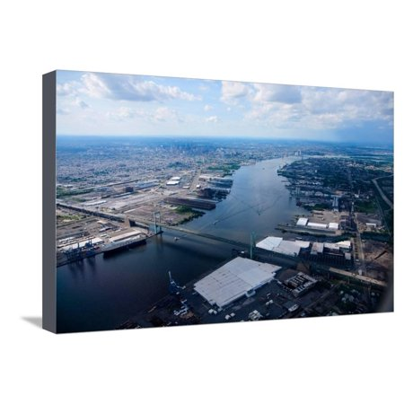 Aerial view of Walt Whitman Bridge crossing Deleware River in Philadelphia, PA Stretched Canvas Print Wall (Crossings In Pa)