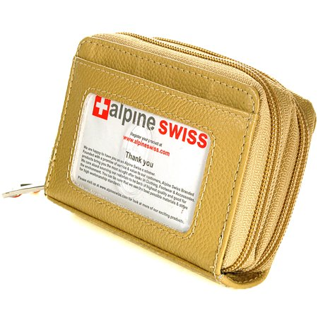Alpine Swiss Womens Acordion Organizer Wallet Leather Credit Card Case Coin ID