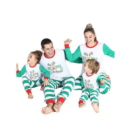 SWEETLIFE Christmas Family Sleepwear Xmas Pajamas Set for Kids Mom Dad (Monogrammed Christmas Pajamas)