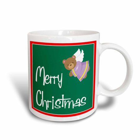 - 3dRose Christmas Cute Teddy Bear Angel - Ceramic Mug, 11-ounce